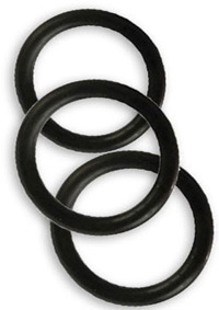 RUBBER COCK RING BLACK 3 PIECE