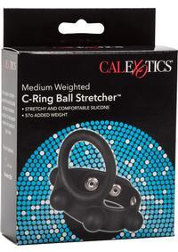 MED. WEIGHTED C-RING BALL CATCHER SILICONE COCKRING BLACK